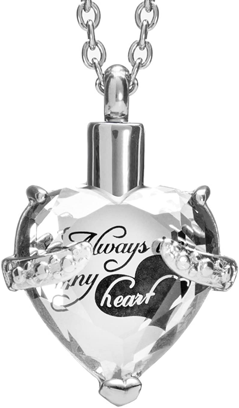 Crystal Cremation Jewelry Urn Necklace for Ashes Always in My Heart Memorial Urn Heart Pendant Keepsake Stainless Steel Jewelry