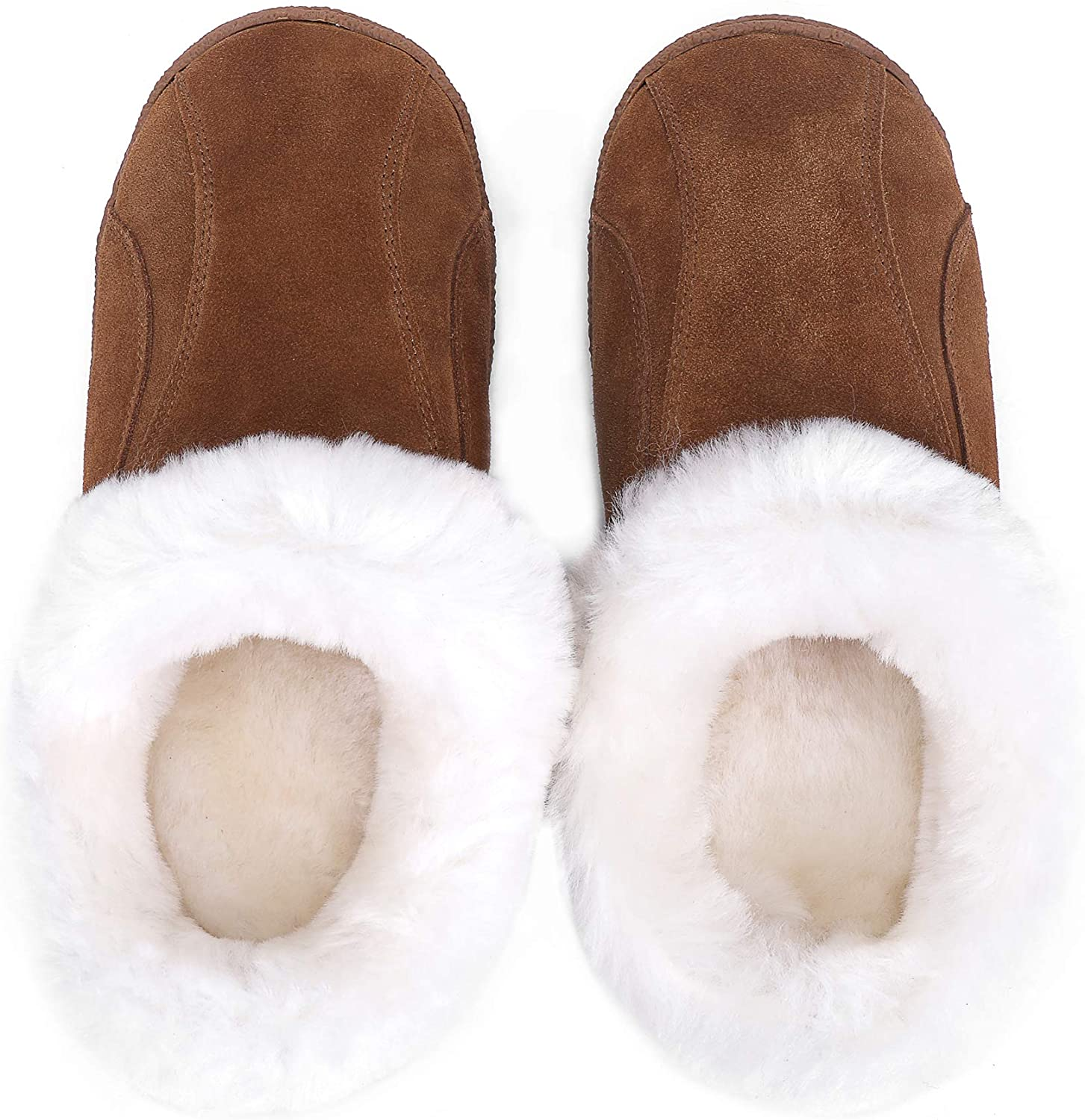 Mosa Women Genuine Leather Slippers Fluffy Australia Sheepskin Slip On House Slippers Soft Comfortable House Scuff for Indoor Outdoor