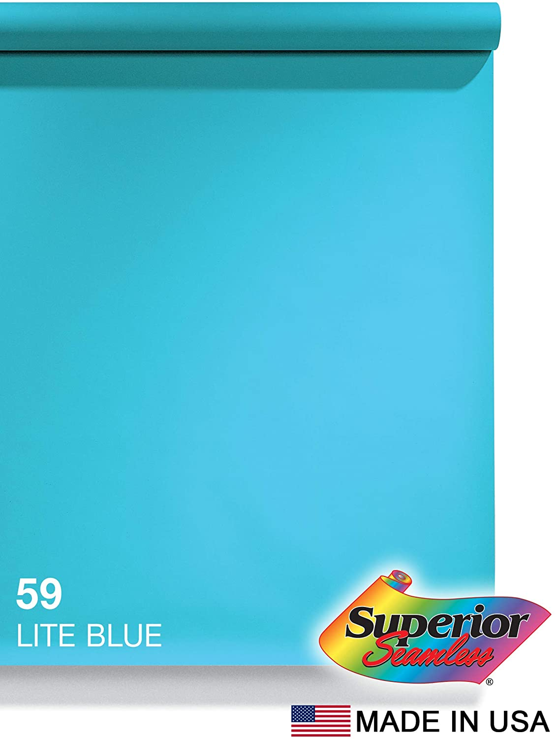 Superior Seamless Photography Background Paper, 59 Lite Blue (86 inches Wide x 36 feet Long)