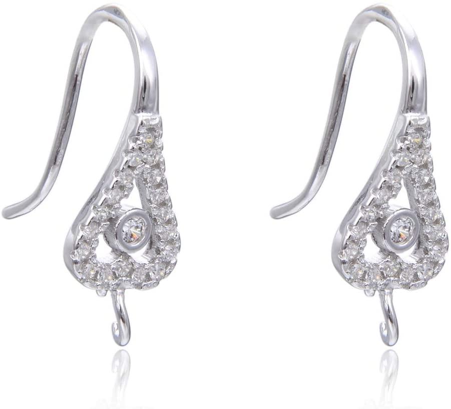 20pcs Sterling Silver Earring Hooks Dangle 19 Created Diamonds Peacock Feather Ear Wire Earwire Connectors for Earrings Jewelry Making SS464