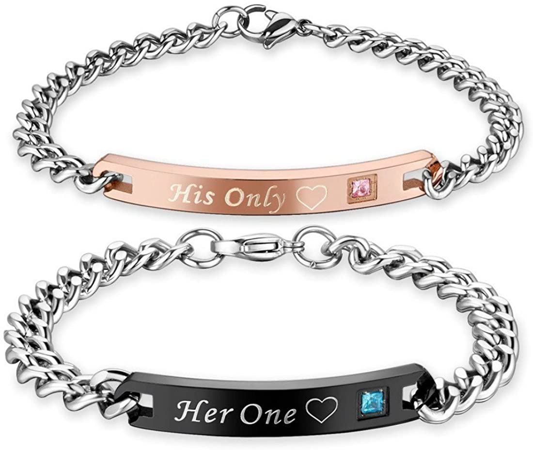 Bracelets for Couples Set Her King His Queen Engraved Stainless Steel Unique Lovers Bangles Xmas Valentines Day Gift for Wife Husband BF GF