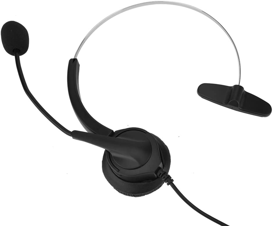Hopcd Cordless Headset with Mic, Noise-Cancelling Caller Center Headset Mic 2.5mm Telephone Headphone Microphone Comfortable Hearing Protection 360° Rotation Communication Headset