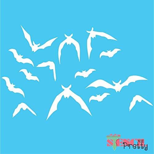 Stencil - Swarm of Bats Stencil - DIY Scary Halloween Fall Décor-XL2 (26
