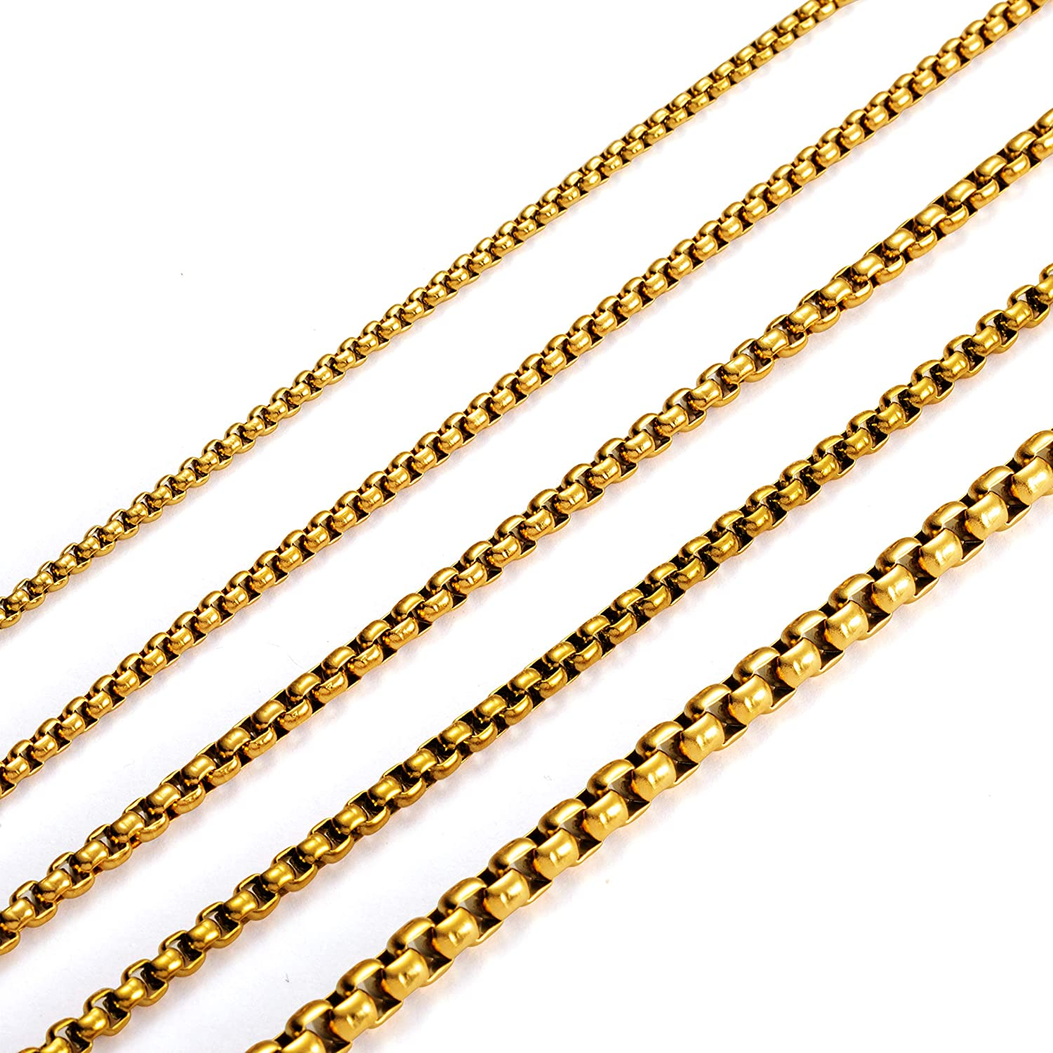 MEMGIFT 18K Real Gold Plated Box Chain Necklaces for Women Men Teen Girls Boys Stainless Steel Long 16-28 Inches Width 2.5-5MM Box Link Simple Jewelry Gifts for Mom Dad Best Friend Sister Wife