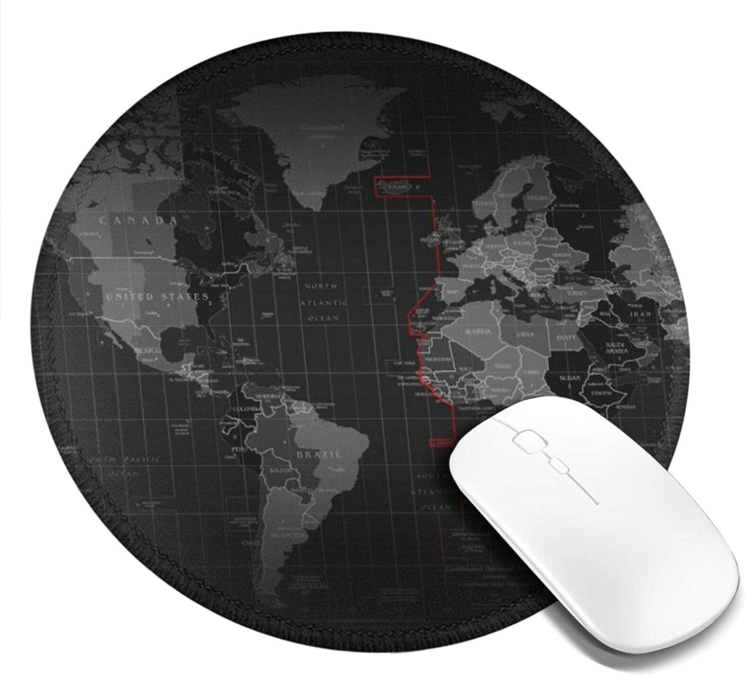 Mouse Pad for Laptop World Map Non-Slip Gaming Round Mousepad