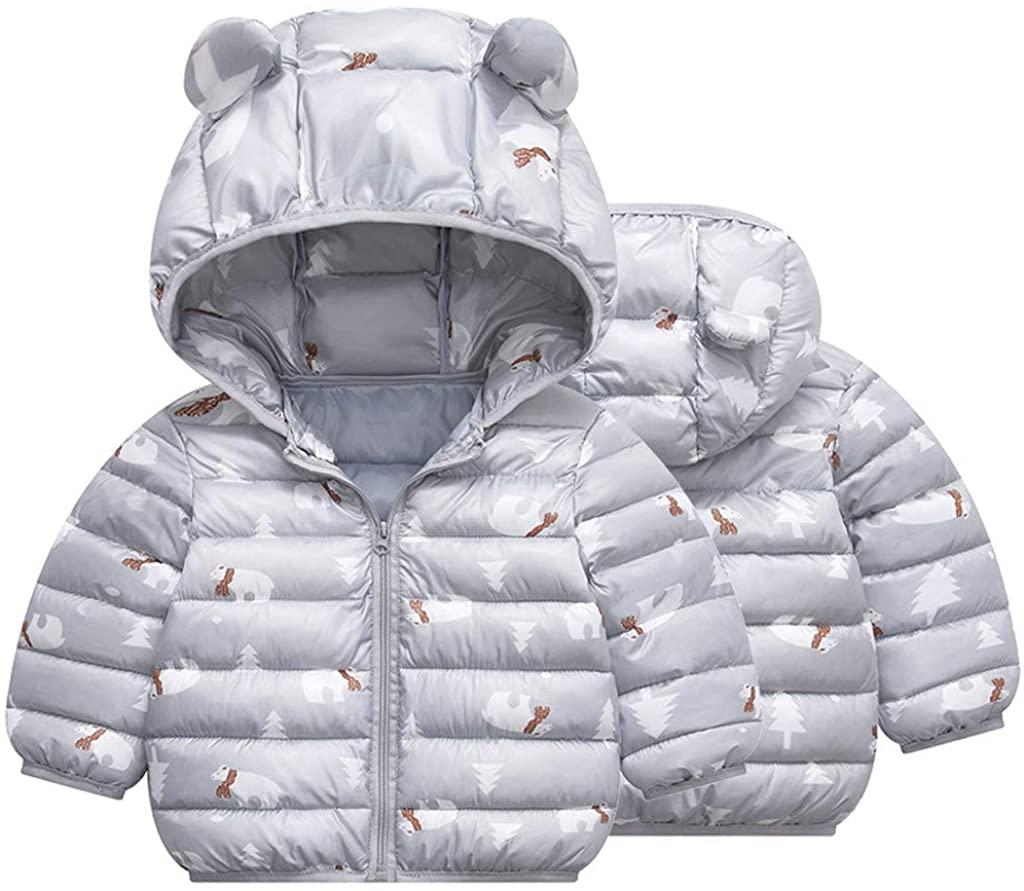 MOMFEI Winter Down Coats for Kids Baby Boys Girls Light Cotton Puffer Padded Jacket Bear Hoods Infant Outerwear