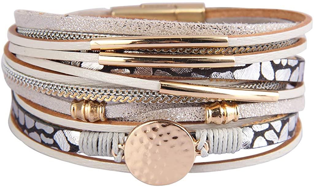 GelConnie Women Leather Wrap Bracelet Multilayer Braided Bracelet Boho Cuff Bracelet Bohemian Jewelry for Wife,Sister, Daughter