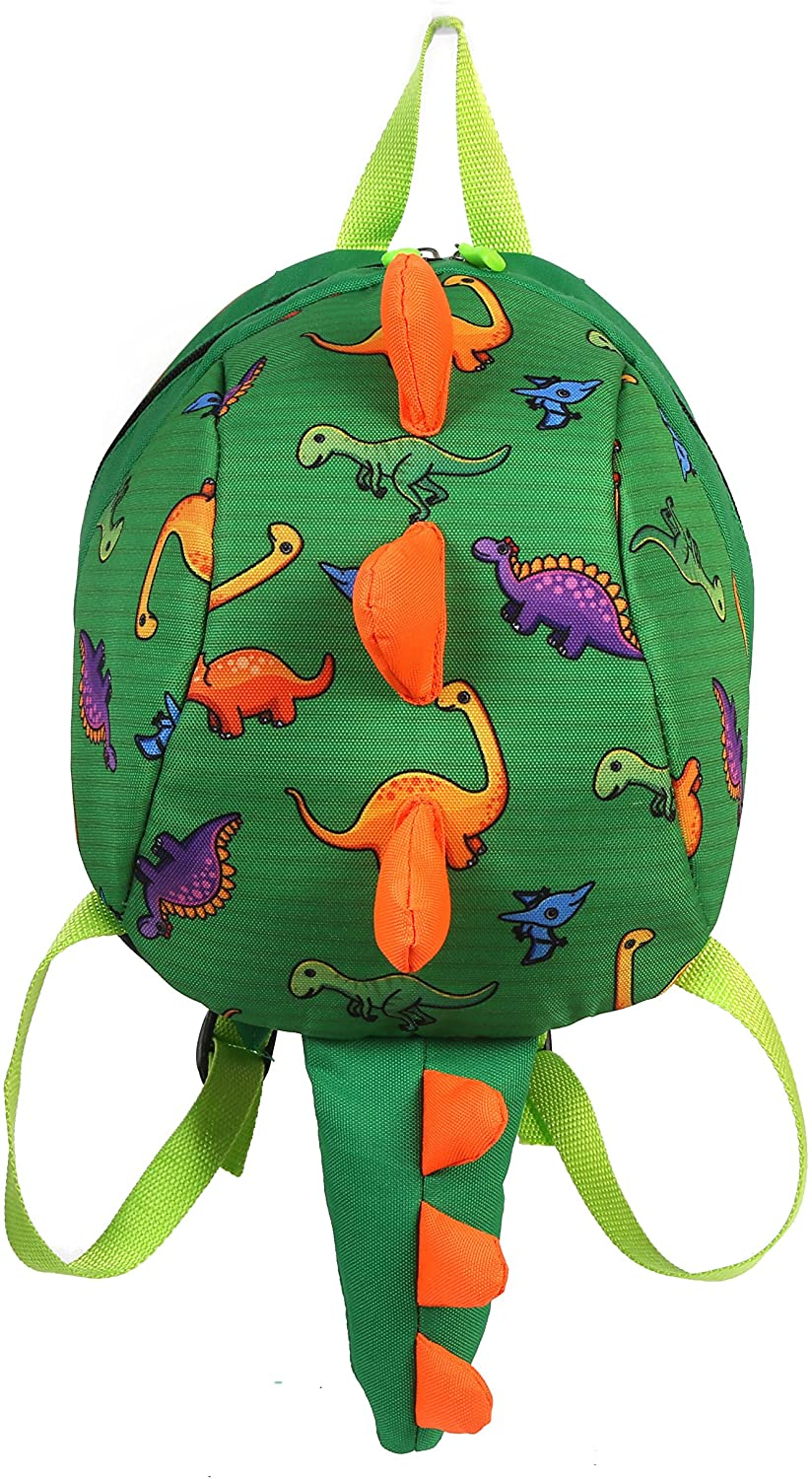 Toddler kids Dinosaur Backpack Book Bags with Safety Leash for Boys Girls (Style:2 Green)