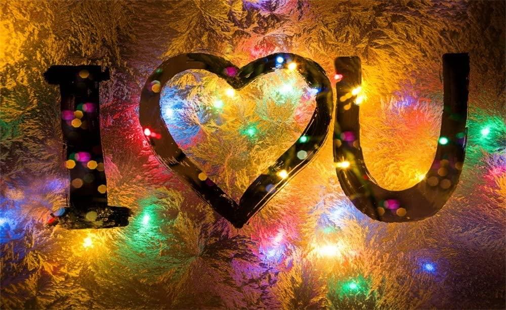 Leowefowa Vinyl 5X3FT Valentines Day Backdrop I Love You Frozen Colorful Glass of Window Winter Romantic Wedding Photography Background Girls Baby Photo Studio Props