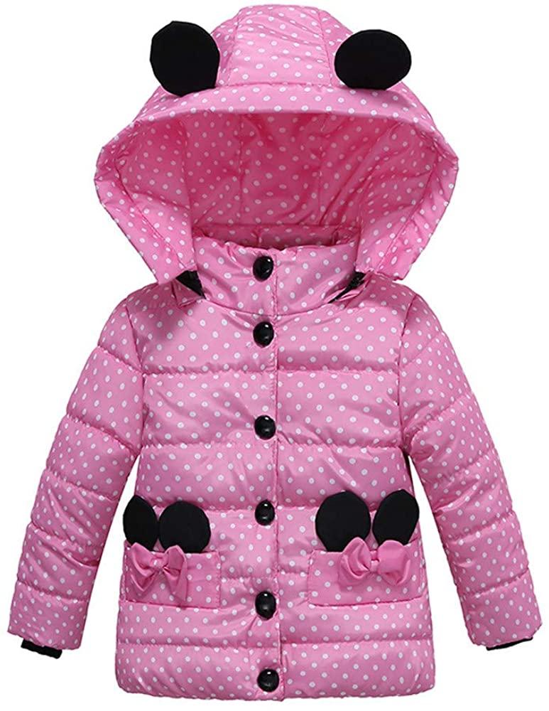 GoodLock Baby Girls Thick Coat Kids Fashion Padded Dot Bow Winter Jacket Clothes