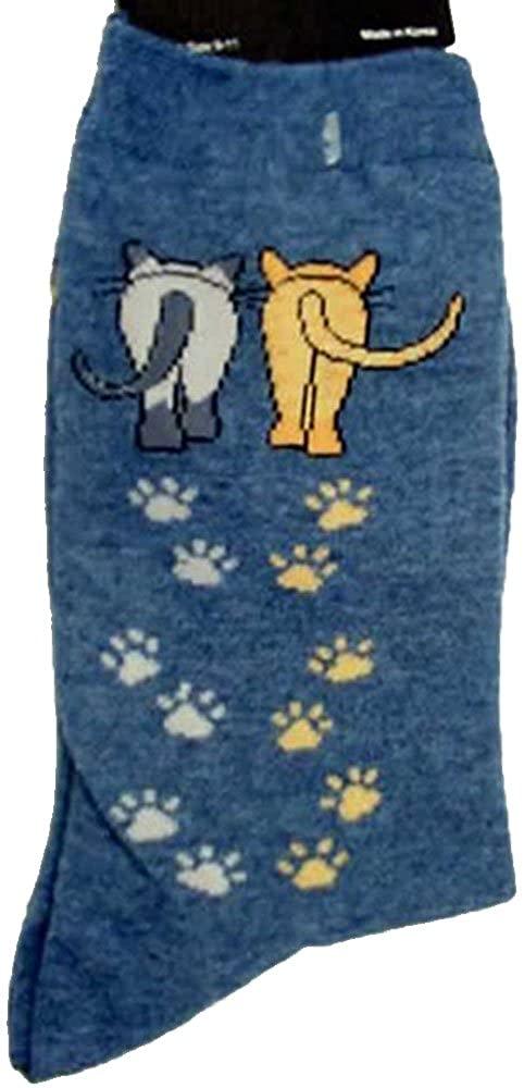 K. Bell Socks Women's Catwalk Print Cotton Crew Socks with Kitty Paws (Denim)