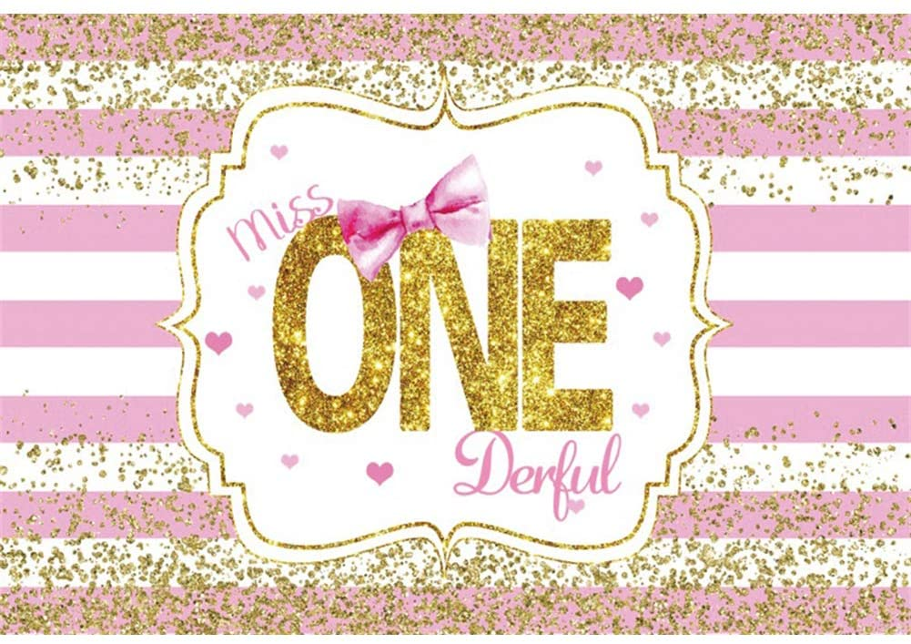 DORCEV 5x3ft Miss Onederful Birthday Backdrop Pink White Stripes Bowknot Golden Glittering Sequins Photography Background for Girl's 1st Birthday Party Portraits Photo Studio Props