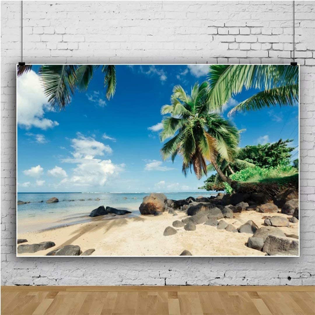OFILA Polyester Fabric 7x5ft Tropical Photos Backdrop Summer Island Photography Background Palm Trees Sandbeach Holidays Travel Party Decoration Summer Festival Shoots Shoreline Paradise Photos