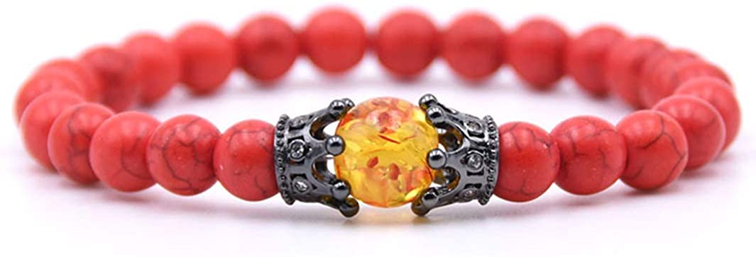 lancy's jewelry Natural Stone Crown Stretch Bead Bracelet for Men Women Girls 8mm Round Beads