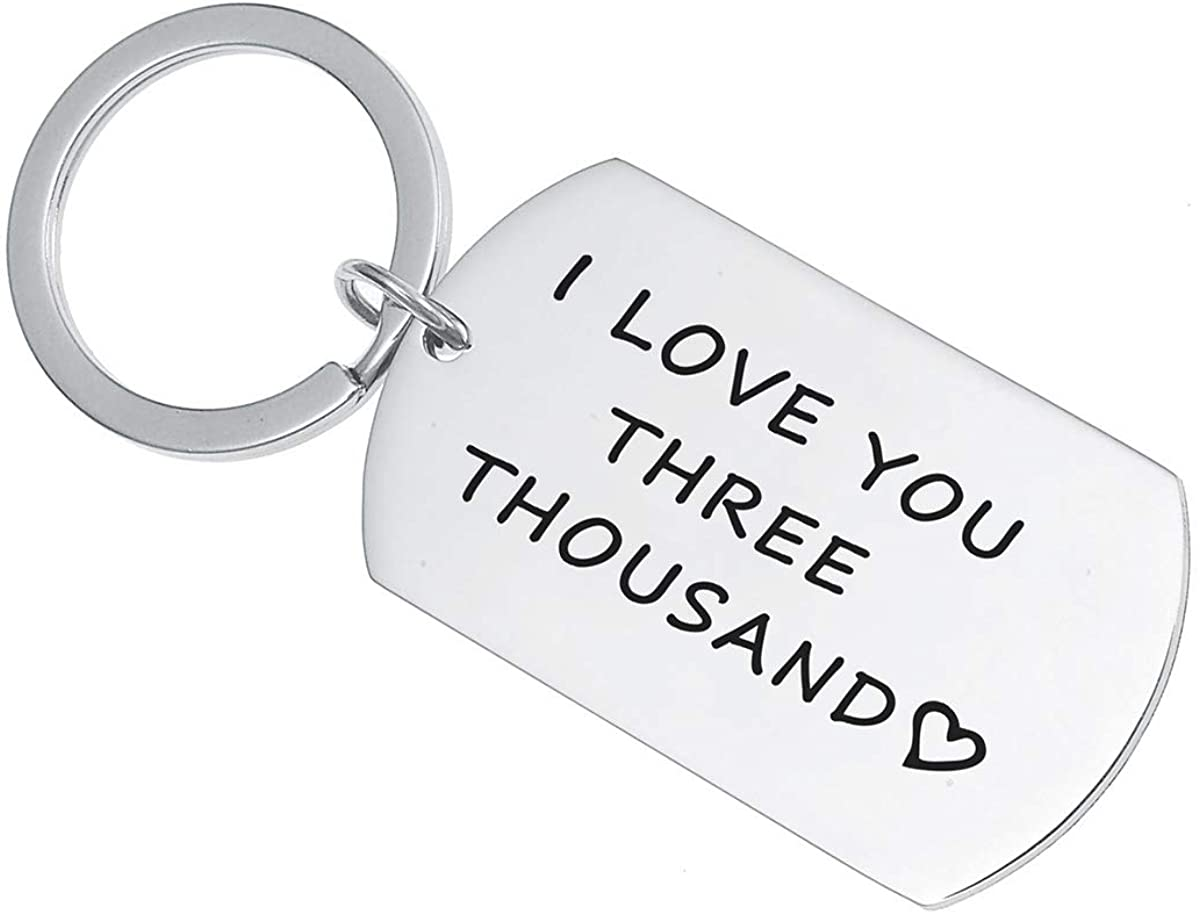 SNOWLIN I Love You 3000 Lettering Engraved Cuff Bangle Keychain Necklace Avengers Fan Avengers Endgame Gift for Dad Boyfriend Mother Girlfriend