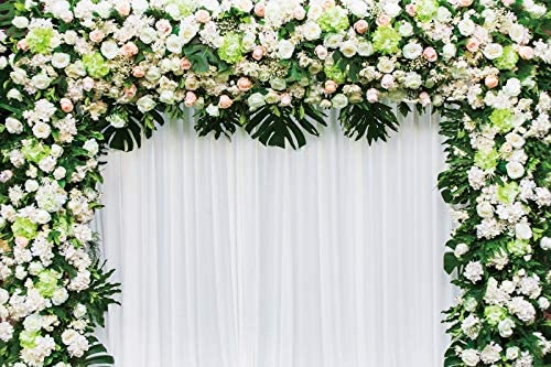 OERJU 10x6.5ft Wedding Backdrop Colorful Floral White Tulle Curtain Ceremony Background for Bridal Shower Photography Engagement Party Lovers Portrait Photo Booth Props Newborn Baby Shower Banner