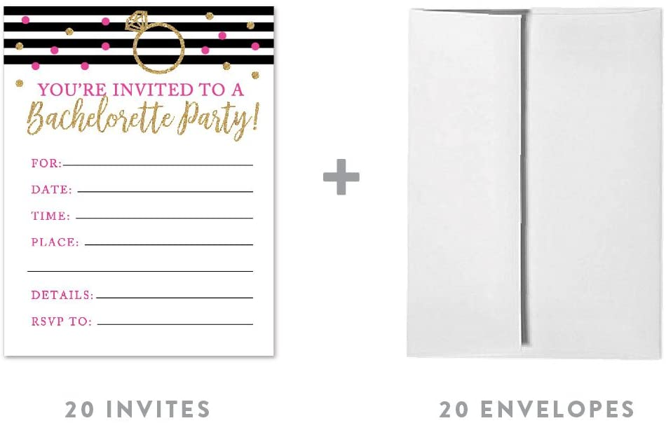 Andaz Press Black, White, Hot Pink, Gold Glittering Bachelorette Party Bridal Shower Collection, Blank Bachelorette Invitations with Envelopes, 20-Pack