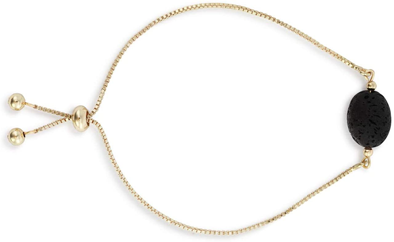 DEMDACO Aromatherapy Lava Stone Gold Tone One Size Fits Most Brass Metal Bracelet