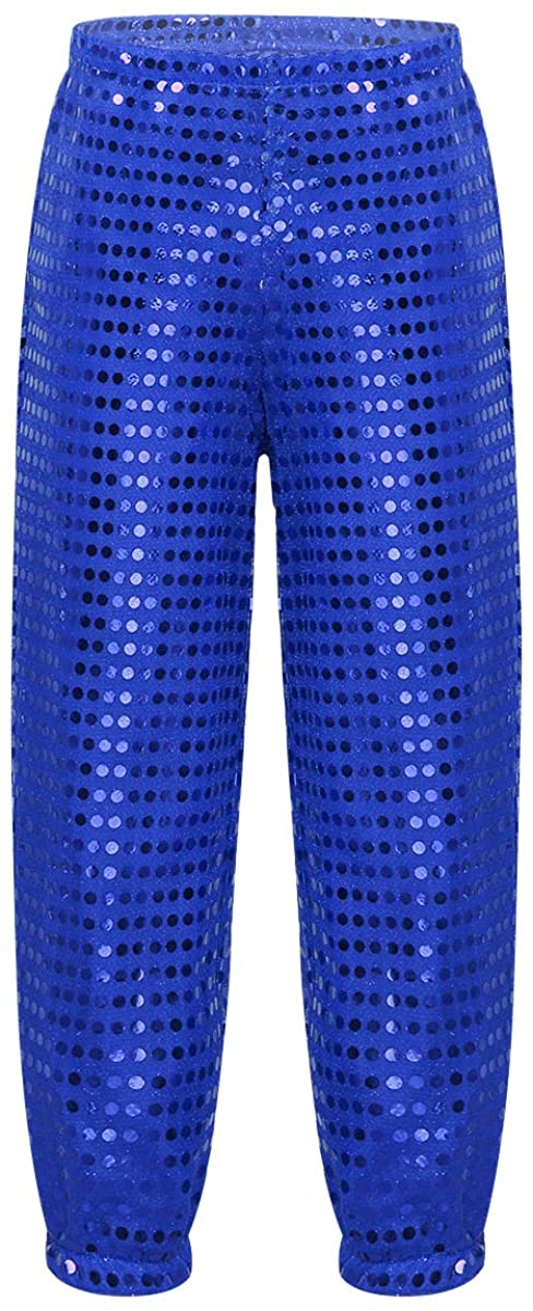easyforever Unisex Kids Boys Girls Sparkling Sequins Dance Pants Hip hop Jazz Stage Performance Trousers