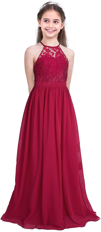Alvivi Girls Chiffon Halter Lace Bodice Junior Bridesmaid Long Dress Floor Length Party Evening Ball Prom Maxi Gowns