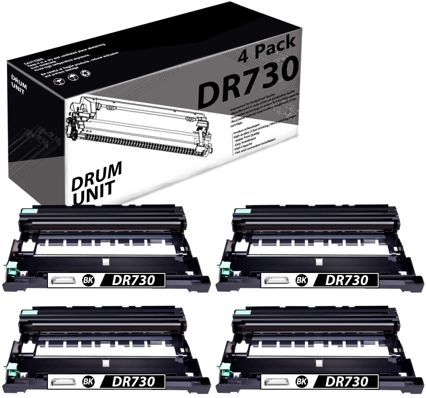 DR730(4 Pack-Black) Compatible Drum Unit Replacement for Brother DCP-L2550DW MFC-L2710DW L2750DW L2750DWXL HL-L2350DW L2370DW/DWXL L2390DW L2395DW Printer.