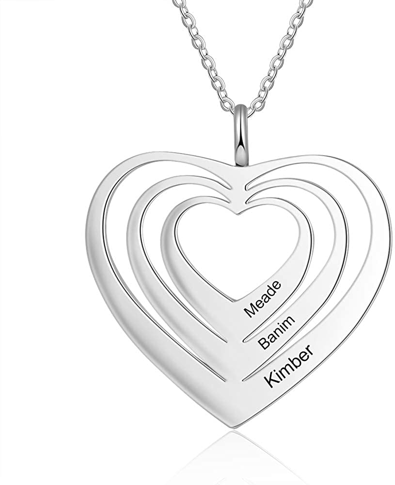 Ashleymade Personalized Simple 3 Heart Necklace Pendants for Women Free Engraved 3 Names Couple Pendant Promise Necklace for Her Stainless Steel Heart Charm Pendants Mother Girlfriend Gift
