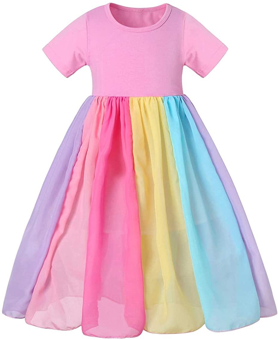 AmzBarley Toddler Baby Girls Clothes Rainbow Dress Princess Playwear Outfits Halloween Birthday Party T-Shirt Dress