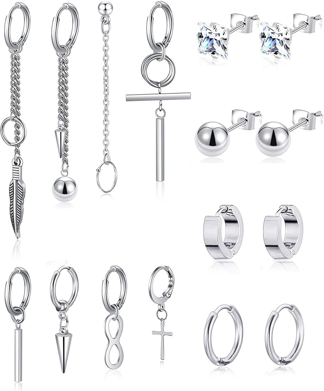 Ofeiyaa 16 Pcs Stainless Steel Hoop Cross Dangle Hinged Earrings Long Chain Feather Pendant Earrings Piercing Huggie CZ Stud Earrings Set for Men Women Silver Tone