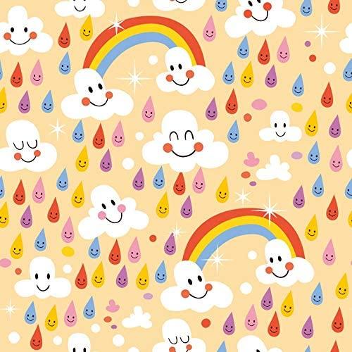 Leowefowa 6x6ft Vinyl Backdrop Baby Shower Photography Background Rainbow Smiling Clouds Colorful Smiling Raindrop Happy Birthday Party Backdrop Children Baby Portraits Photo Studio