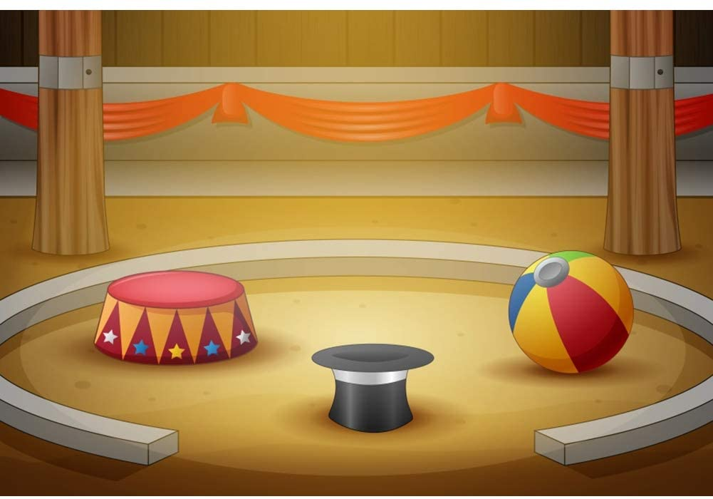 YongFoto 10x8ft Cartoon Circus Activities Backdrop Magic Hat Drum Ball Props Photography Background for Children Party Birthday Party Decor Kids Boy Portraits Photo Shoot Studio Props Wallpaper