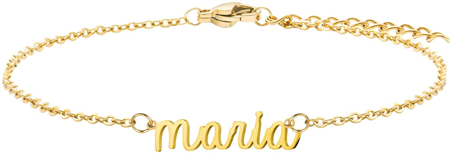 Joycuff Personalized Name Bracelet Cute 18K Gold Chain Jewelry Dainty Beautiful Gifts for Birthday Valentine's Christmas Mother's Day Women Daughter Sister Teen Girls