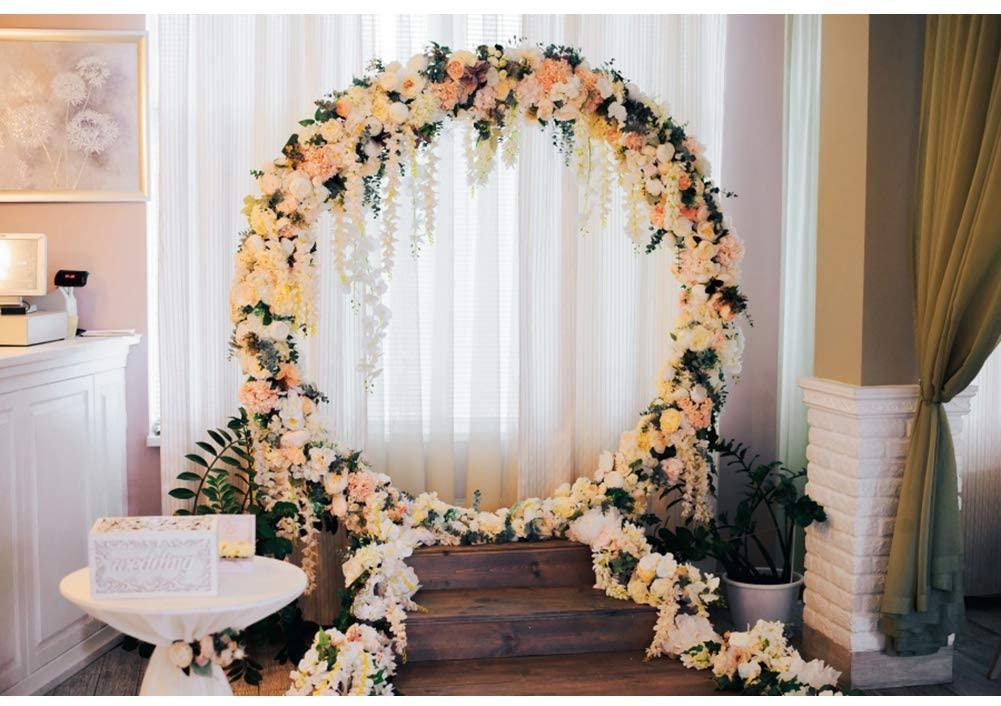 DORCEV 6x4ft Wedding Scene Photography Backdrop Modern Interior Wedding Celebration Decoration Background Flower Arch White Curtain Bridal Shower Party Photo Studio Props Wallpaper