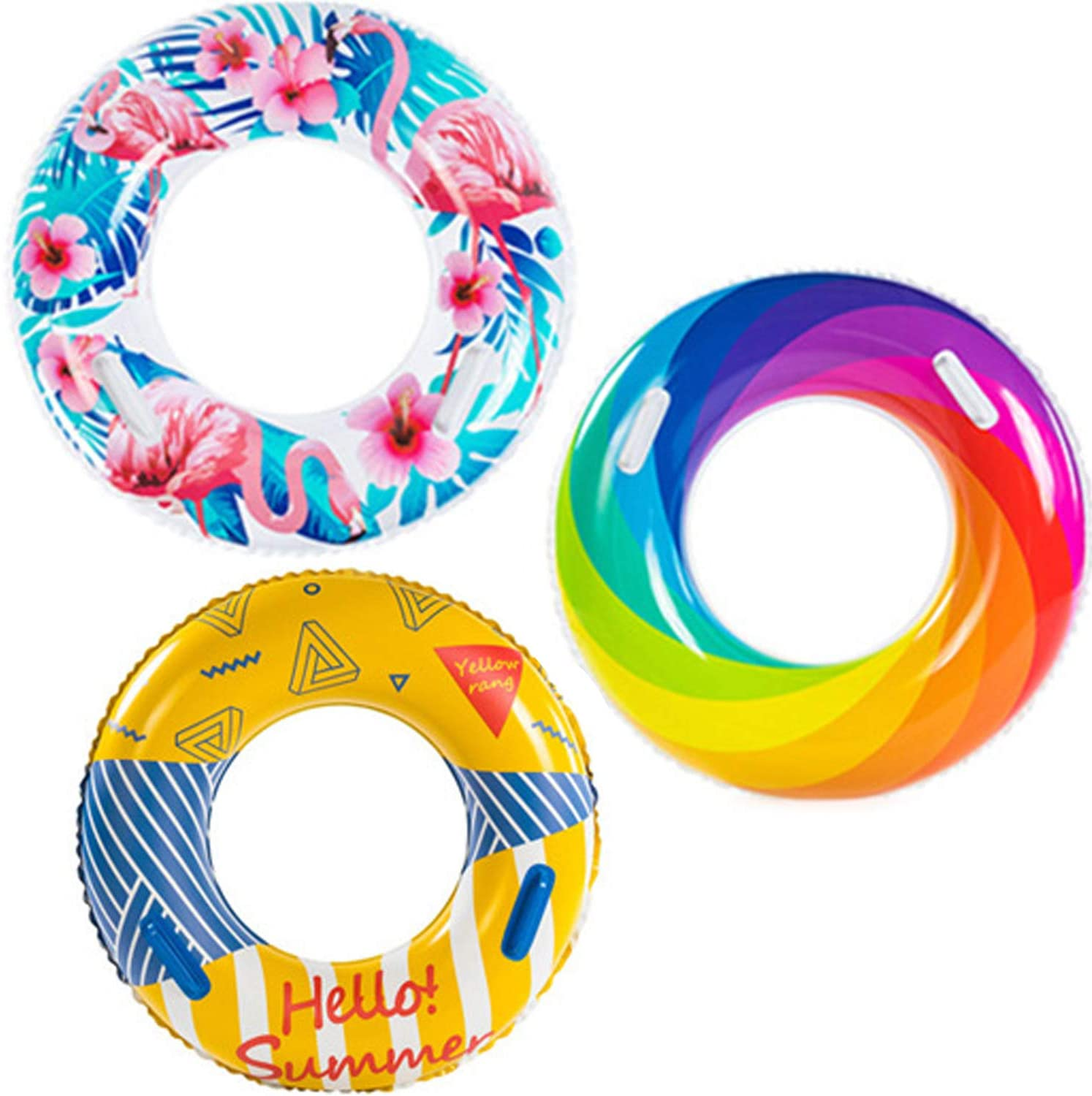 Kribin 2020 Upgraded Inflatable Pool Floats with Handle Design - 3 Pack Swim Tube Ring Toys for Kids Adults Toddlers Swimming Pool Outdoor Beach Party