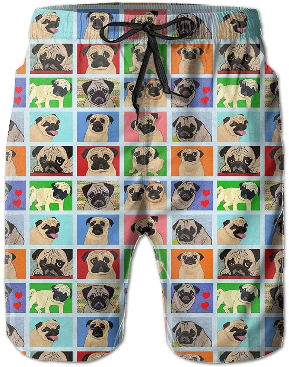 AMRANDOM Pug Cute Pattern Men's Drawstring Waist Swim Trunks Boardshort