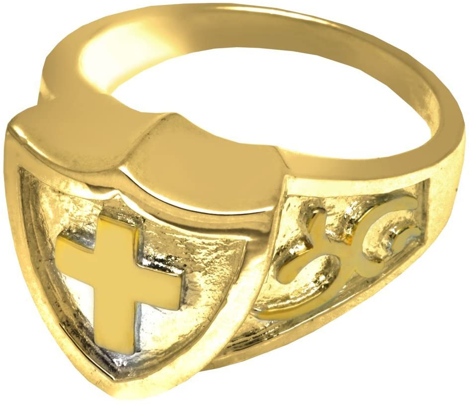 Memorial Gallery 2005GP-10 Cross Shield Ring 14K Gold/Sterling Silver Plating Cremation Pet Jewelry
