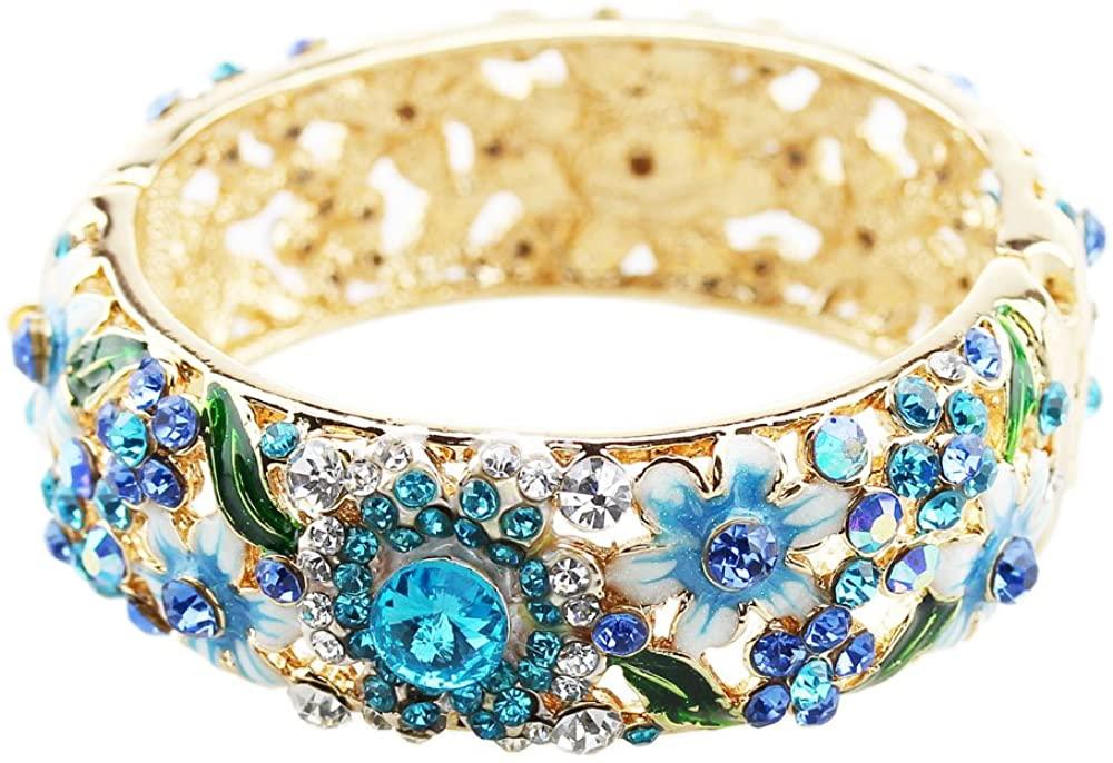 FOY-MALL Flower Design Cloisonne Crystal Bangle Bracelet E1365M