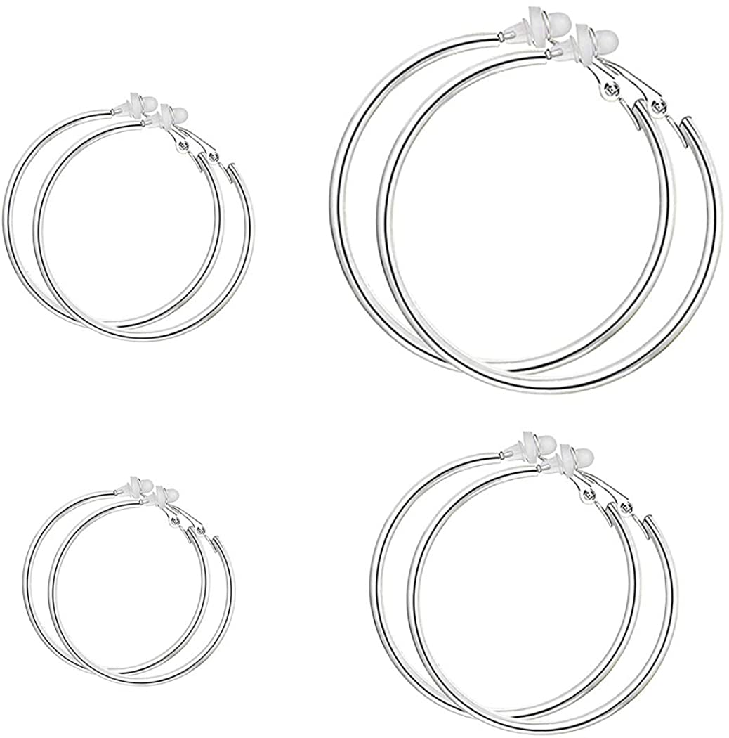 XGALBLA 3 Pairs 30,40,50,60MM Stainless Steel Clip On Hoop Earrings Jewelry Set Non Pierced