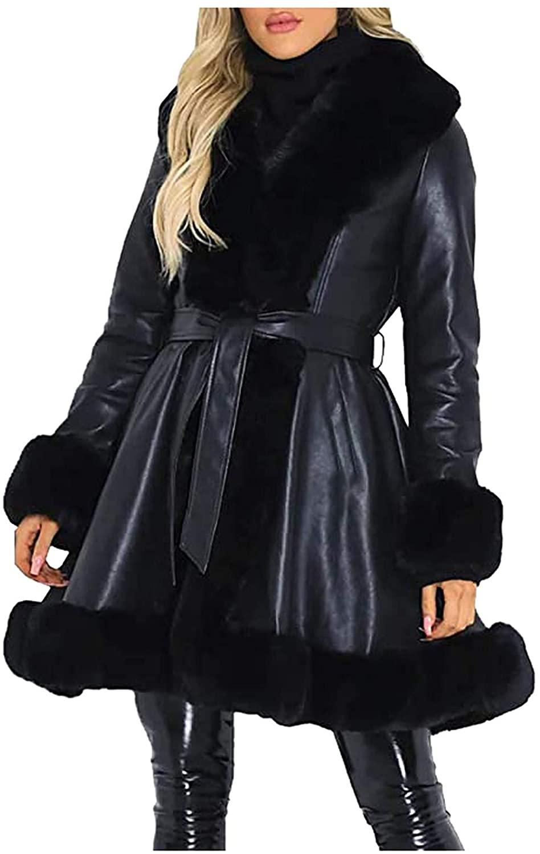 Women's Faux Leather Jacket Coat Long,Lapel Outwear Trench Coat Cardigan Faux Fur Collar