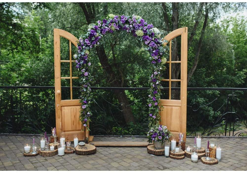 Leyiyi Purple Wedding Arch Backdrop 8x6ft Photography Background Outdoor Wedding Ceremony Wedding Reception Vintage Wooden Door Candle Nature Brick Floor Kids Adults Photo Props