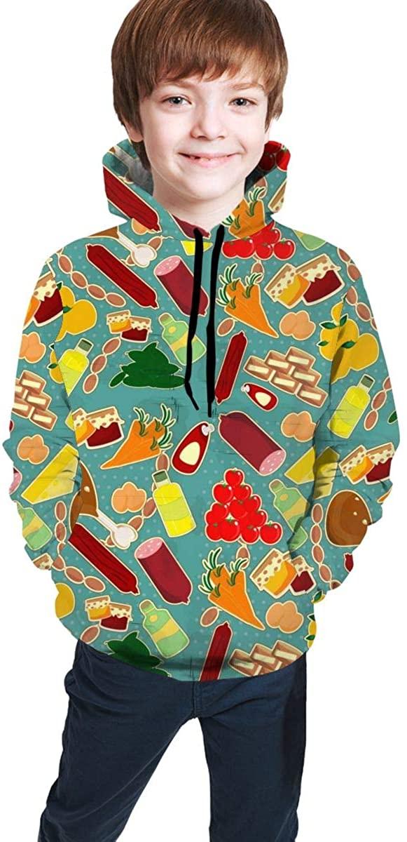 QSMX Children's Hoodies 3D Print Pullover Hooded Sweatshirts Junior Sports Outerwear for Boys/Girls/Teens/Kids S-XL