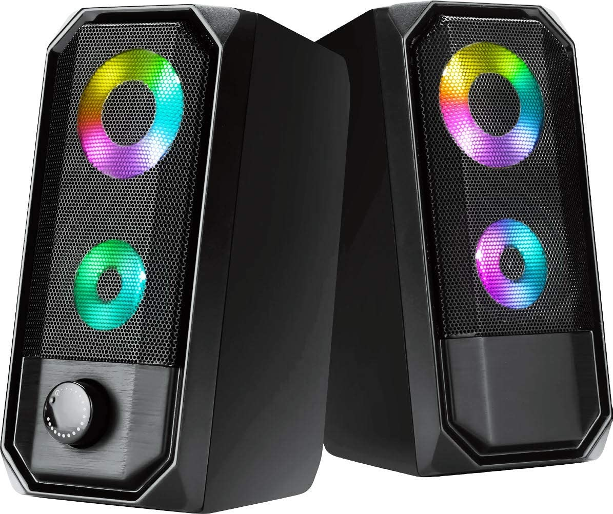 Computer Speakers, HTRise 10W RGB Gaming PC Speaker with Enhanced Stereo Bass Colorful LED Light, USB Powered for PC Desktop Laptop Tablet Smartphones.