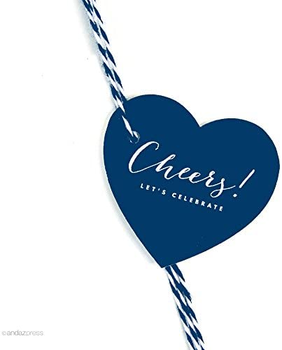 Andaz Press Heart Gift Tags, Chic Style, Cheers!, Navy Blue, 30-Pack