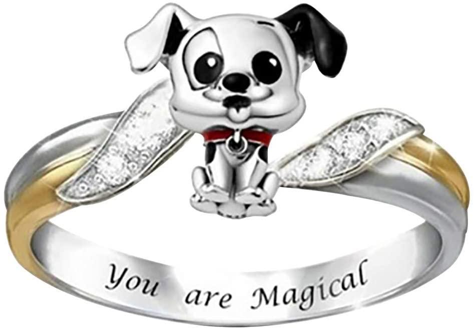 Ts99-kWm Women Dog Rings, Dainty Cute Ring Set Simple Animal Gift for Her Lovely Ring Set Girls Teens (Multicolor, 7)