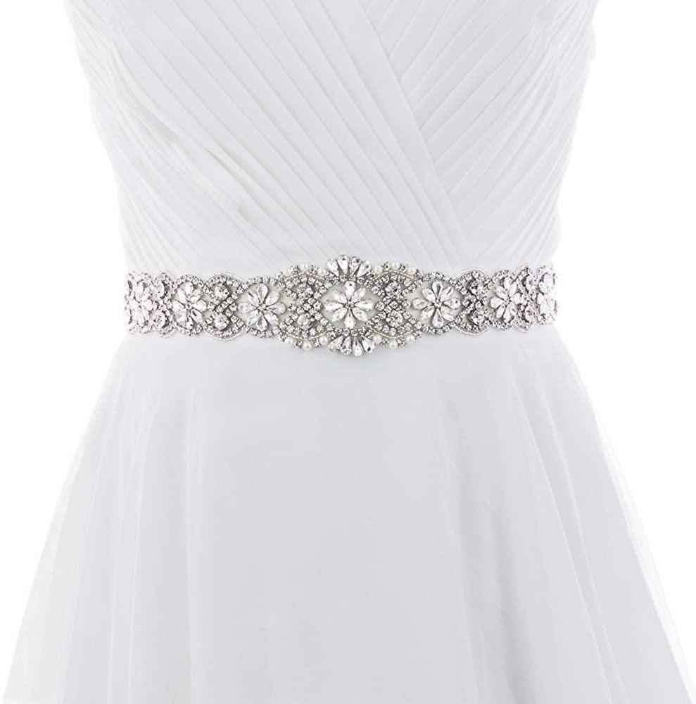Azaleas Women's Crystal Thin Wedding Belt Sashes Bridal Sash Belt for Wedding, Bridesmaid Flower Girl Dress Accessories 16IN