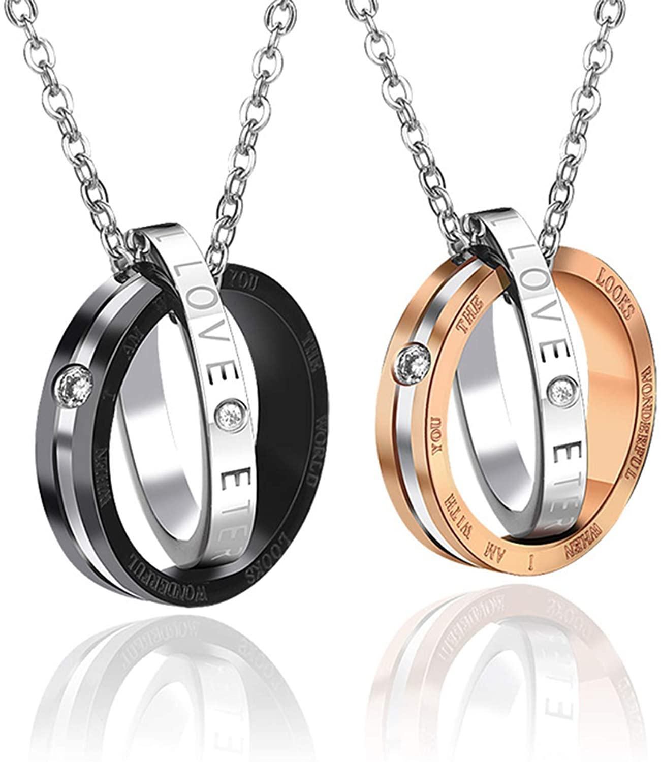 Wedding Anniversary Valentine's Present Couple Necklace His & Hers Matching Set Titanium Stainless Steel lover Pendant Necklaces