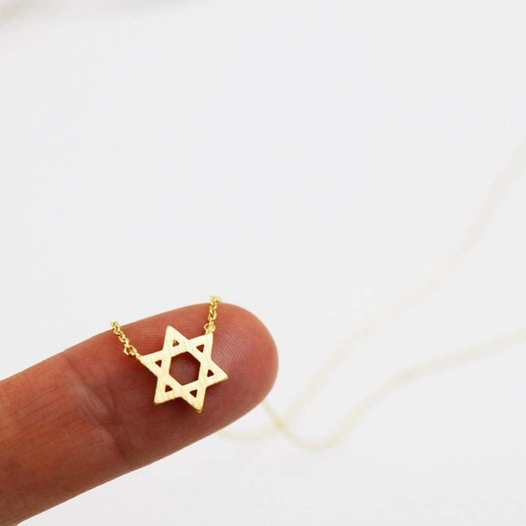 CanB Star of David Necklace Gold Necklace Hexagram Necklace Tiny Necklace Charm Necklace for Women and Girls