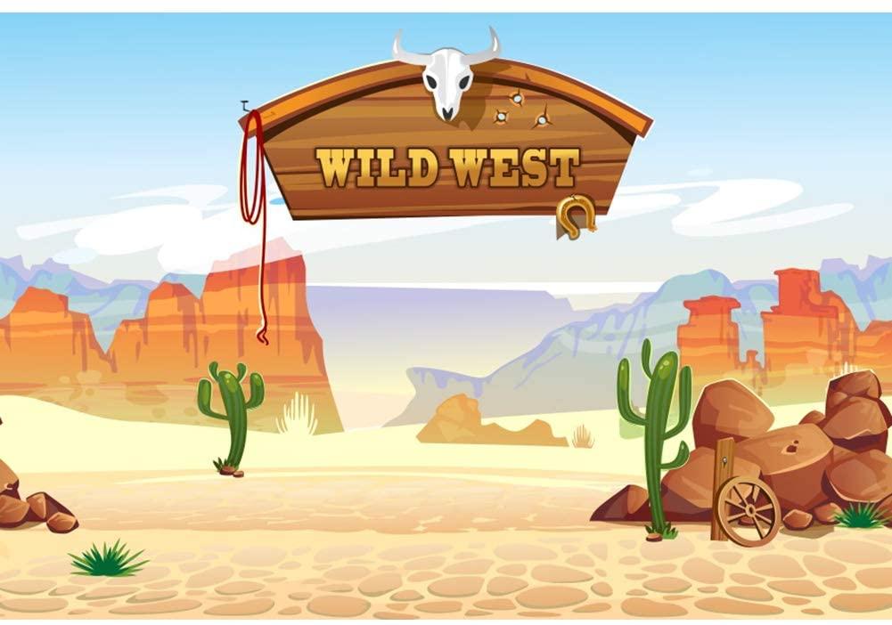 DORCEV 9x6ft Cartoon Wild West Photography Backdrop Wild West Rodeo Cowboy Theme Birthday Party Background Desert Landscape Cactus Party Banner Kids Adults Artistic Portrait Photo Studio Props