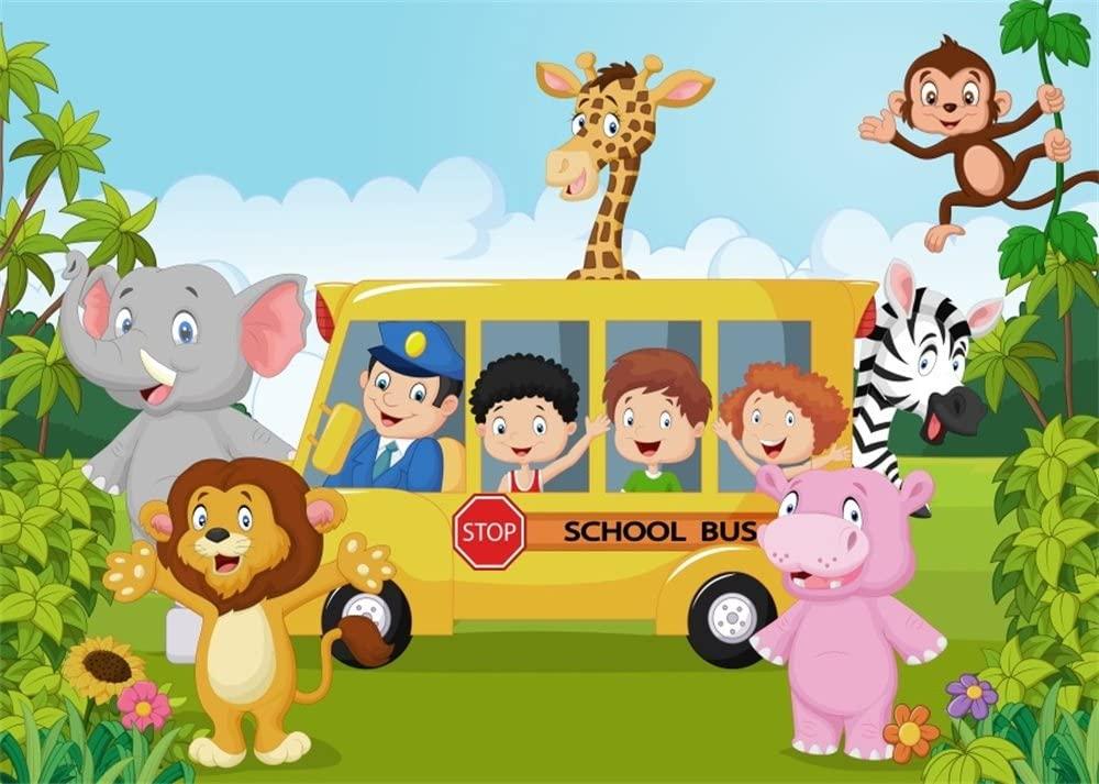 Leowefowa 10X8FT Animals World Backdrop Back to School Backdrops for Photography Zoo Cartoon Kids Birthday Wallpaper Vinyl Photo Background Boys Girls Studio Props