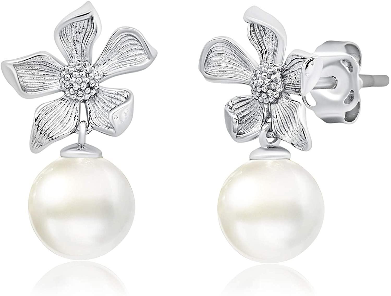 Genuine 14K Gold Detailed Flower Stud Earrings with Dangling Fresh Water Pearls (6mm)