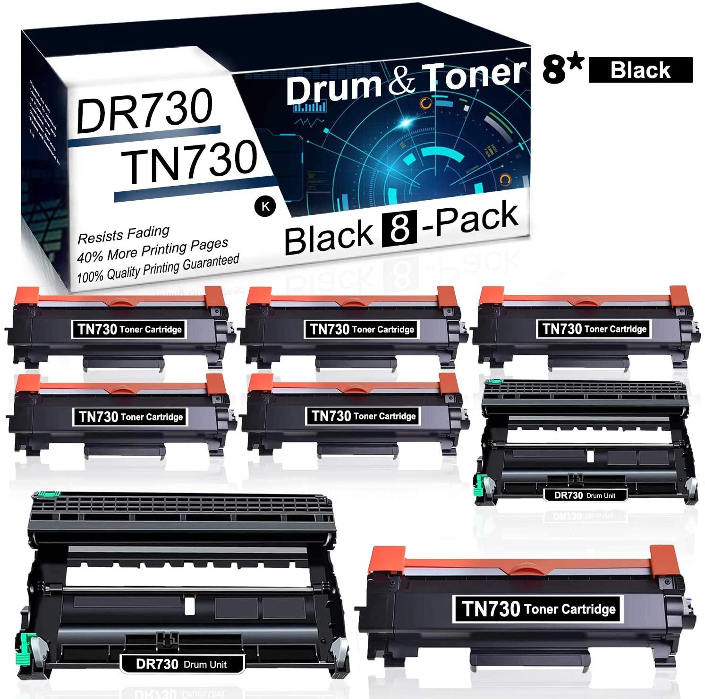 (8Pk,Black) Compatible DR730 Drum & TN730 Toner Cartridge Used for Brother HL-L2350DW HL-L2370DW/DWXL HL-L2390DW HL-L2395DW DCP-L2550DW MFC-L2710DW MFC-L2750DW MFC-L2750DWXL Printer Toner Cartridge.